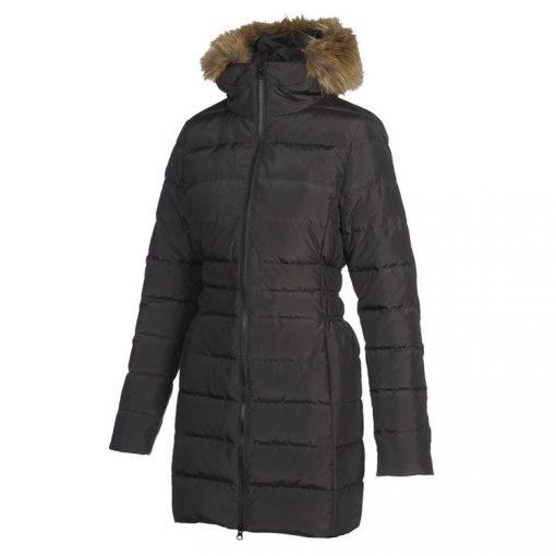 Stylish Women's Hooded Long Sleeves Regular Fit 2 Zipped Pockets Long Down Jacket Black