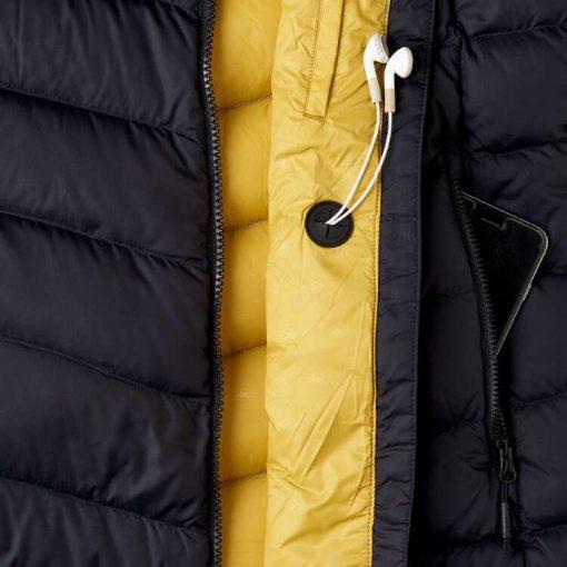 Women's Black & Yellow Slim Fit Long Sleeves Hooded Peak Puffer Jacket