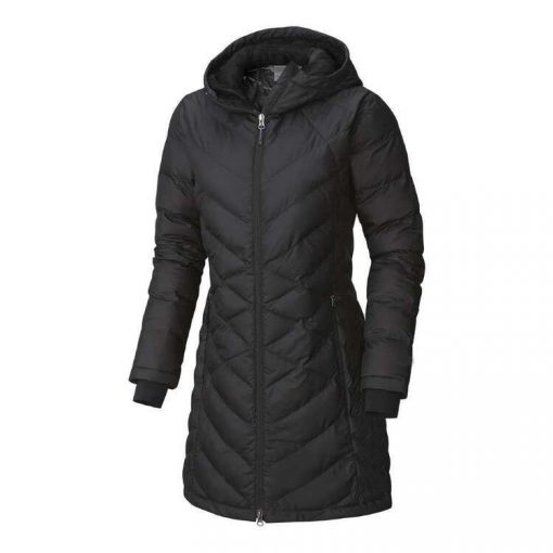 Lightweight Long Regular Fit Long Sleeves Hooded Black Puffer Jacket for Women