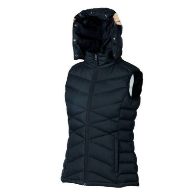 Women's Duck Down Vest Removable Hood with removable Faux Fur 2 Zipped Pockets Sleeveless Jacket